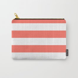 Living Coral Peach Horizontal Cabana Tent Stripes Carry-All Pouch