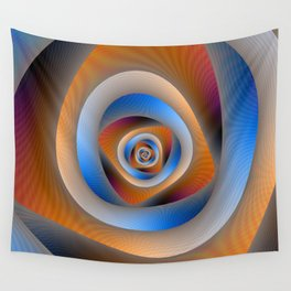 Spiral Labyrinth in Orange and Blue Wall Tapestry
