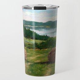 Hay Bale View of Shelburne Pond Travel Mug