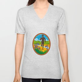 Marathon Runner and Bluebells Oval Retro Unisex V-Neck