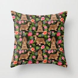 Cocker Spaniel hawaiian tropical print with dog breeds cocker spaniels Throw Pillow