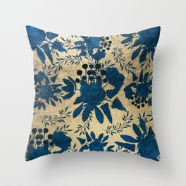 Elegant gold navy blue watercolor floral pattern Throw Pillow