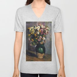 """Paul Cezanne """"Still Life with Flowers in an Olive Jar"""" Unisex V-Neck"""