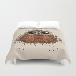 Coffee beans and cups forming owl Duvet Cover