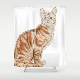 Happy Tabby Cat Shower Curtain