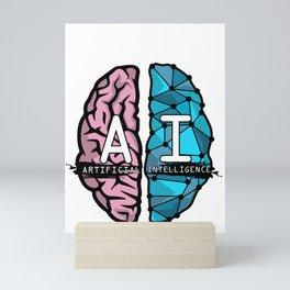 AI Nerd design - Artificial Intelligence Brain graphic Mini Art Print