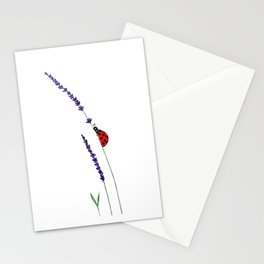 red ladybug and purple lavender Stationery Cards