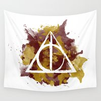 deathly hallows Wall Tapestries featuring The Deathly Hallows (Gryffindor) by FictionTea