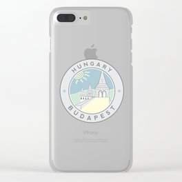 Budapest, Hungary, Fisherman's Bastion, circle gray Clear iPhone Case