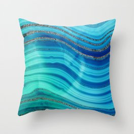 Gold Indigo Blue  Ocean Marble Waves Throw Pillow