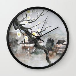 Moon flower and ancient Japanese castle Wall Clock