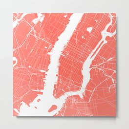 Living Coral New York City NYC Map II Metal Print