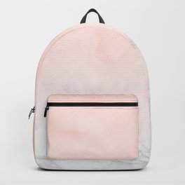 Blush Pink on White and Gray Marble Backpack