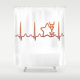 Engraving Heartbeat Shower Curtain