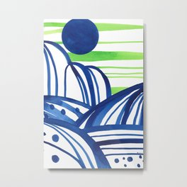 Lime and blue abstract landscape Metal Print