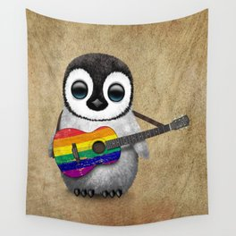 Baby Penguin Playing Gay Pride Rainbow Flag Guitar Wall Tapestry