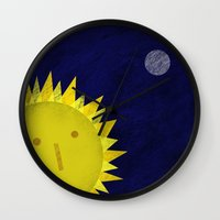 sun and moon Wall Clocks featuring Sun and moon by Inmyfantasia