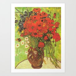 Still Life: Red Poppies and Daisies by Vincent van Gogh Art Print