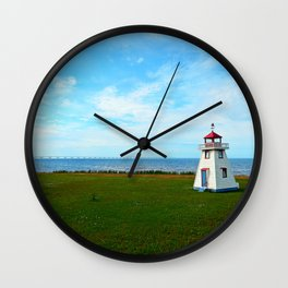 Tiny Lighthouse and Giant Bridge Wall Clock