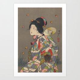 Japanese Art Print - Woman and Fireflies Art Print