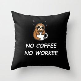Funny Sloth Saying Sloffee Morning Grumpy Coffee Motive Throw Pillow