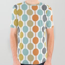 Retro Circles Mid Century Modern Background All Over Graphic Tee