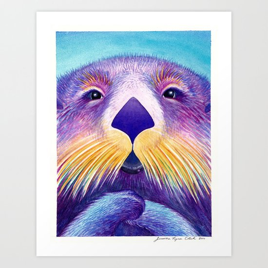 Otter Face to Face Art Print
