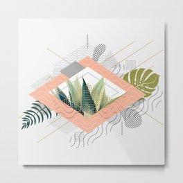 Abstract geometrical and botanical shapes I Metal Print