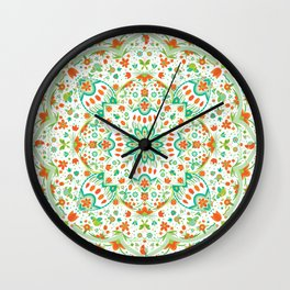 Folk Art Garden (on White) Wall Clock