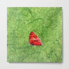 Red Butterfly Green Meadow Metal Print