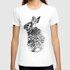 Rabbit White LARGE Womens Fitted Tee