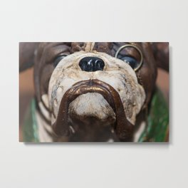 Detail of the muzzle of a bulldog dog in a comic style Metal Print