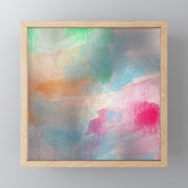 Abstract Watercolor Painting Aqua Orange Raspberry Framed Mini Art Print