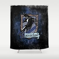 ravenclaw Shower Curtains featuring Ravenclaw team flag emblem iPhone 4 4s 5 5c, ipod, ipad, pillow case, tshirt and mugs by Three Second