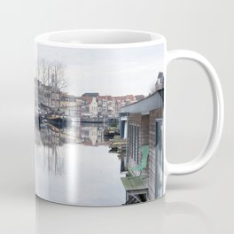 Canal ( gracht ) at the Old Harbour and Galgewater with traditional houses in Leiden, The Netherlands on a cloudy autumn day with trees and boats Coffee Mug