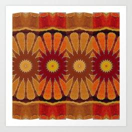 Orange flower pattern daisy Art Print