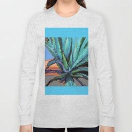 BLUE MODERN ART AQUA DESERT AGAVE CACTUS Long Sleeve T-shirt
