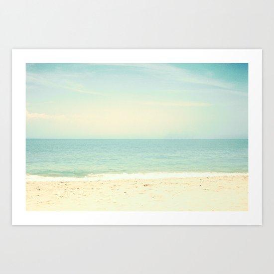 Pastel Retro Beach  Art Print