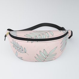 Good Vibrations / Pink Green Leaves Pattern Fanny Pack
