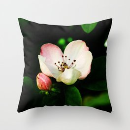 Quince Pink Flower and Bud Throw Pillow