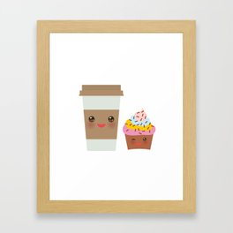 coffee in Paper thermo cup with brown cap and cup holder, chocolate cupcake. Kawaii Framed Art Print