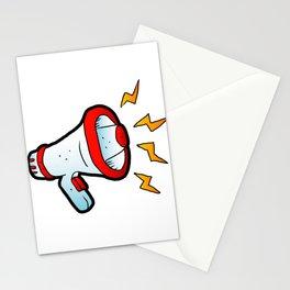 megaphone cartoon Stationery Cards