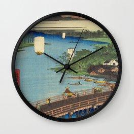 Big Bridge In Edo City. Ukiyoe Landscape Wall Clock
