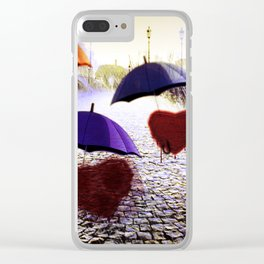 Three Lonely Hearts In the Rain Clear iPhone Case
