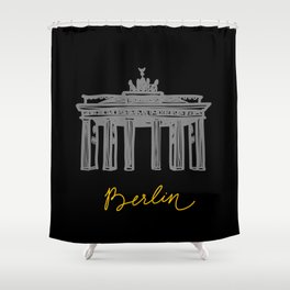 Brandenburg Gate in Berlin (black and yellow) Shower Curtain