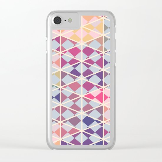 Purple mosaic pattern Clear iPhone Case
