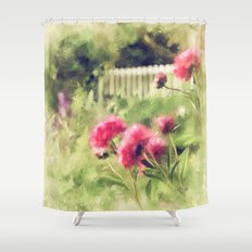 Pink Peonies In A Vintage Garden Shower Curtain