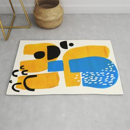 Mid Century Modern abstract Minimalist Fun Colorful Shapes Patterns Ikea Yellow & Blue Rug
