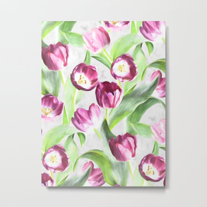 Bright Tulips on Soft Grey Metal Print