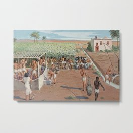 Classical Masterpiece Egyptian Laborers Harvest Grapes by Herbert Herget Metal Print